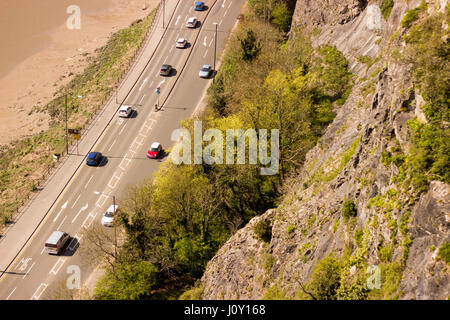 View of Hotwells from Clifton Suspension Bridge - Stock Photo