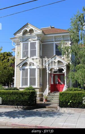 Eastlake or Stick-style house built around 1885 in Napa, California - Stock Photo