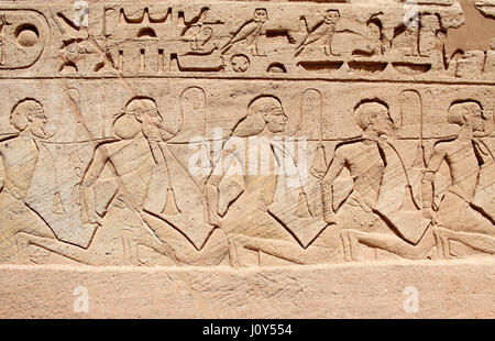 Depiction of slaves at Abu Simbel - Stock Photo