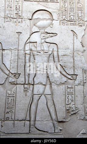 Sobek the Egyptian deity at Kom Ombo Temple - Stock Photo