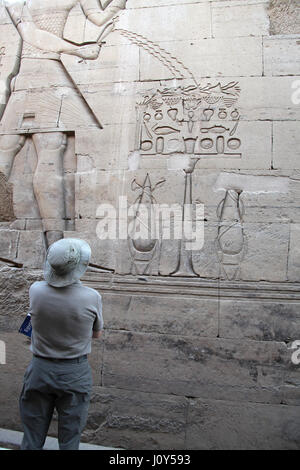 Tourist at the Egyptian Temple of Kom Ombo - Stock Photo