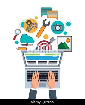 hand businessman work digital marketing - Stock Photo