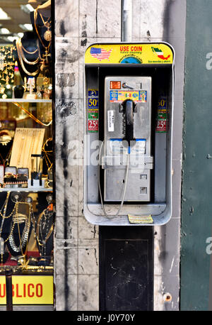 A Payphone in downtown Los Angeles California - Stock Photo