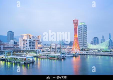 Kobe, Japan - January 5, 2016: Kobe port with Kobe tower in Japan. - Stock Photo