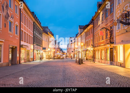 Night of Fussen town in Bavaria, Germany. - Stock Photo