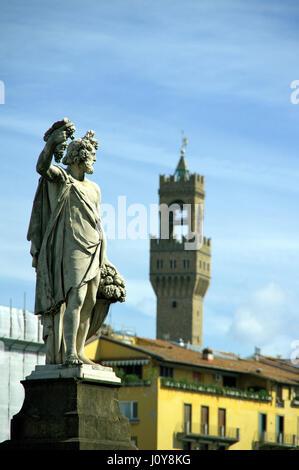 Ponte Santa Trinita marble statue of Autumn (Fall) by Giovan Battista Caccini - Florence (Firenze), Tuscany, Italy, - Stock Photo