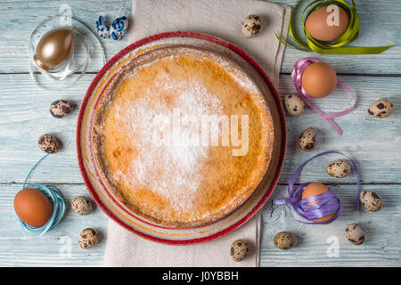 German Easter cake on the white wooden table horizontal - Stock Photo