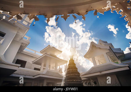 Wat Rong Khun The White Temple in Chiang Rai, Thailand - Stock Photo