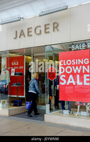 Closing down sale at Jaeger shop in Southport, Merseyside, UK - Stock Photo