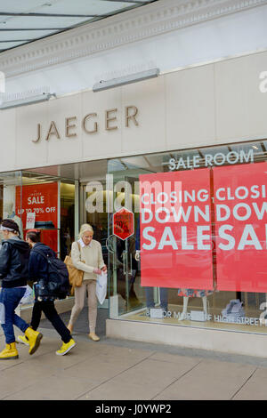 Closing down sale at Jaeger shop in Southport, Merseyside, UK. - Stock Photo