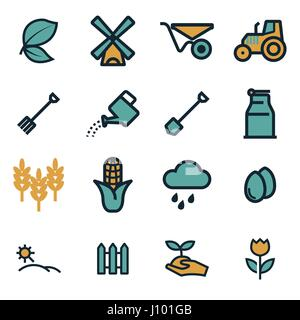 Vector flat farming icons set on white background - Stock Photo