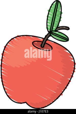 apple fruit drawing. drawing apple fruit food - stock photo