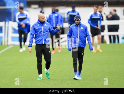 Leicester, England, 17th, April, 2017.   LCFC midfielders Riyad Mahrez and Yohan Benalouane during the training session held at Belvoir Drive ground in readiness for the second leg of the UEFA Champions League Quarter Final tie with Atletico Madrid.  © Phil Hutchinson/Alamy Live News