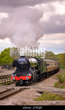 Newick, UK. 17th Apr, 2017. The Flying Scotsman visits the Bluebell Railway in East Sussex. The Bluebell was the first standard gauge preservation steam railway in the UK. Picture shows the Flying Scotsman arriving at Horsted Keynes Station on its journey to East Grinstead. Credit: Jim Holden/Alamy Live News Stock Photo