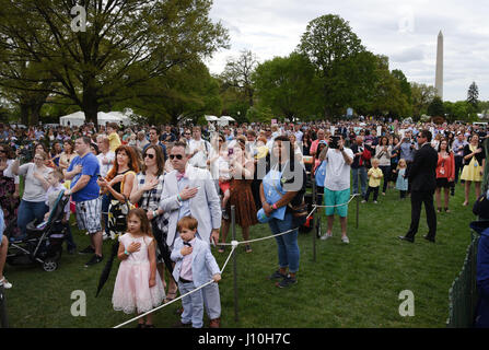Washington DC, USA. 17th Apr, 2017. Guests attend the annual Easter Egg Roll on the South Lawn of the White House - Stock Photo