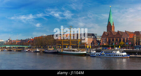 Weser River and St Martin Church, Bremen, Germany - Stock Photo