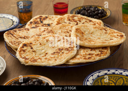 Traditional Moroccan pancakes, meloui for breakfast breakfast - Stock Photo