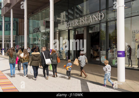 River Island Shop Front in The Rock Bury Lancashire - Stock Photo