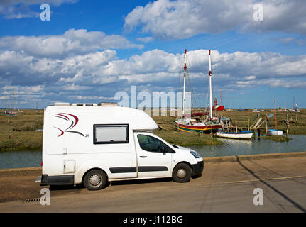 Romahome 25, small motorhome, and oats on the saltmarsh, Tollesbury, Essex, England UK - Stock Photo