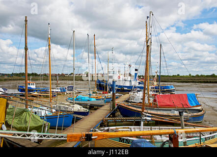 Boats in Tollesbury Marina, Essex, England UK - Stock Photo