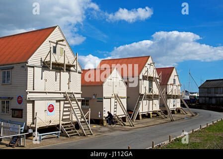 Sail lofts on stilts, Tollesbury, Essex, England UK - Stock Photo