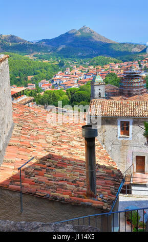 Panoramic view of Morano Calabro. Calabria. Italy. - Stock Photo