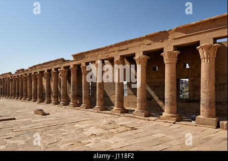 colonnade in ptolemaic temple of Philae, Aswan, Egypt, Africa - Stock Photo
