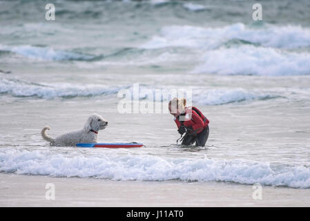 Girl Bodyboarding Laughing Sea Dog Playing Pet Portugese Water Dog Playful Companion Best friend Breed Dog friendly - Stock Photo