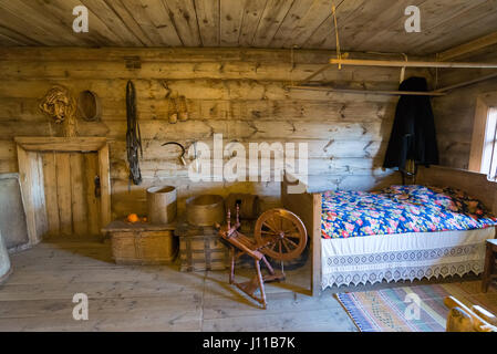 Suzdal, Russia - November 06, 2015.  interior of peasant houses in  Museum  Wooden Architecture - Stock Photo