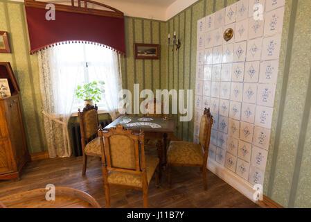 Suzdal, Russia - November 06, 2015. Museum Wooden Architecture, Interior merchants house - Stock Photo