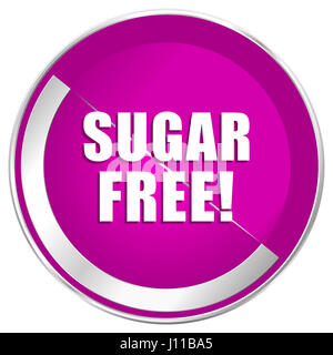 Sugar free web design violet silver metallic border internet icon. - Stock Photo