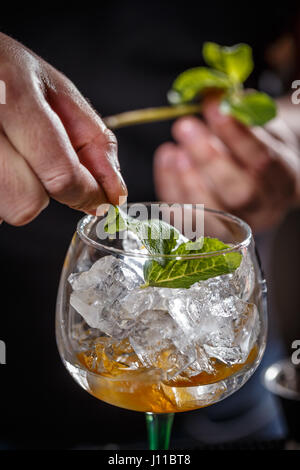 Barman is decorating cocktail with mint - Stock Photo