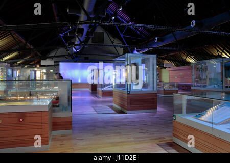 General view of exhibition displays in the National Waterfront Museum, Swansea, Wales. - Stock Photo