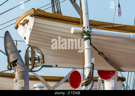 Low Angle View Of Lifeboat On Ship - Stock Photo