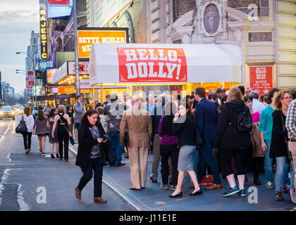 Throngs of theatergoers descend on the Shubert Theatre on Broadway in New York to see a preview performance on Tuesday, - Stock Photo
