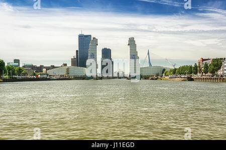 Rotterdam, Netherlands – August 18, 2016: Renovation of the railbridge The Hef in Rotterdam, Netherlands