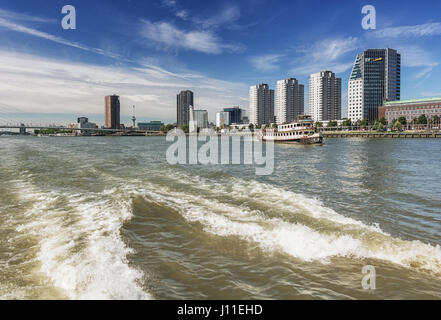 Rotterdam, Netherlands – August 18, 2016: Rotterdam skyline seen from the water, Netherlands - Stock Photo
