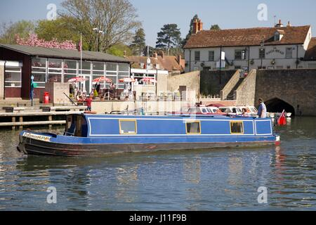 A Narrowboat on the River Thames - Stock Photo