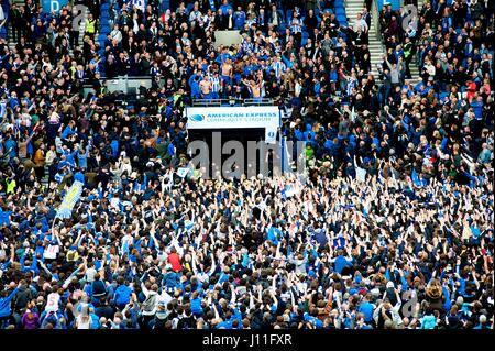 Fans and players of the Brighton and Hove Albion football club celebrating promotion to the Premier League at the - Stock Photo
