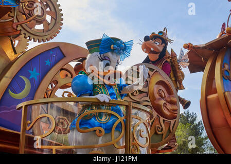 Daisy Duck on a parade float at the 25th Anniversary of Disneyland Paris - Stock Photo