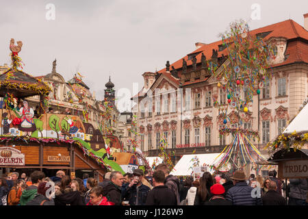 PRAGUE, CZECH REPUBLIC - APRIL 15, 2017: Easter market at the Old Town Square - Stock Photo