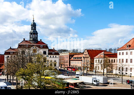 Lüneburg, Marktplatz mit Rathaus; Lueneburg, Market square with townhall - Stock Photo