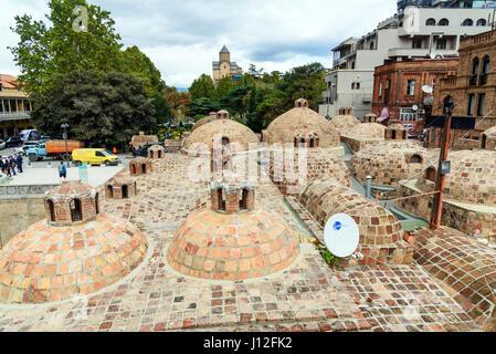 Tbilisi, Georgia - September 24, 2016: Old sulfur Baths in Abanotubani district - Stock Photo