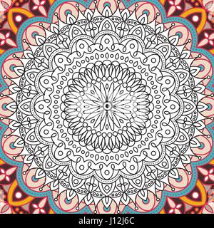 Printable coloring book page for adults - mandala design, activity to older children and relax adult. vector Islam, - Stock Photo