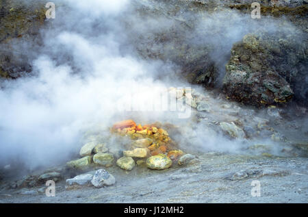 Solfatara volcanic crater at Pozzuoli, near Naples. It is a dormant volcano, which still emits jets of steam with - Stock Photo