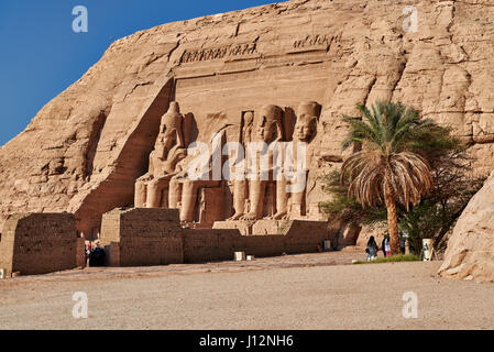 Great Temple of Ramesses II, Abu Simbel temples, Egypt, Africa - Stock Photo