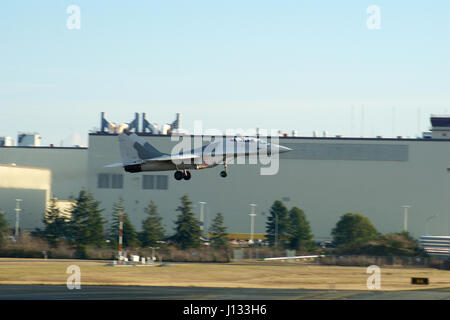 EVERETT, WASHINGTON, USA - JAN 26th, 2017: A MiG-29UB during a low pass athe Boeing factory site at Snohomish County - Stock Photo