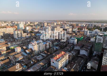 Downtown in Yangon (Rangoon), Myanmar (Burma) viewed from above in daylight. - Stock Photo