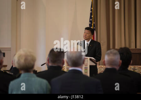 Yoshitaka Shindo, member of the National Diet of Japan gives remarks during the memorial service of retired U.S. - Stock Photo