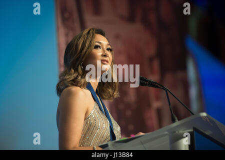 Jaclyn Mariano, surviving daughter of Air Force Master Sgt. Jude C. Mariano, delivers remarks after receiving the - Stock Photo
